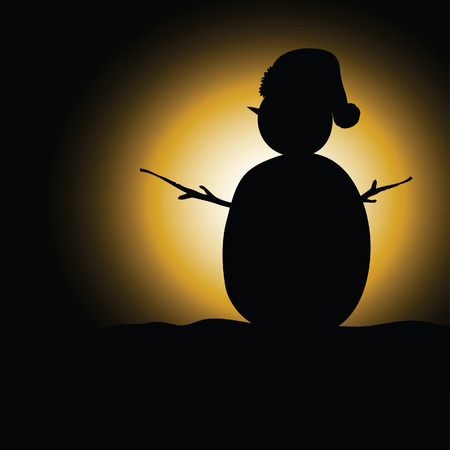 'yule tide': snow man black silhouette on black background