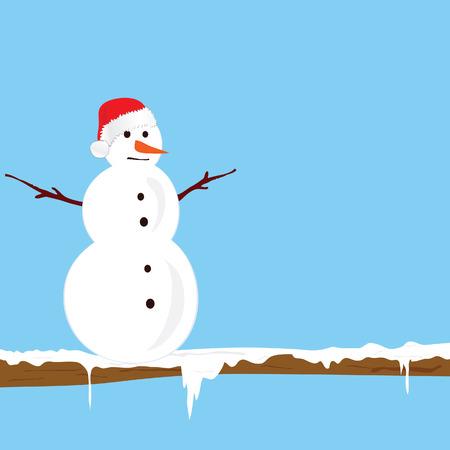 merry chrismas: snowman on the branch color vector illlustration Illustration