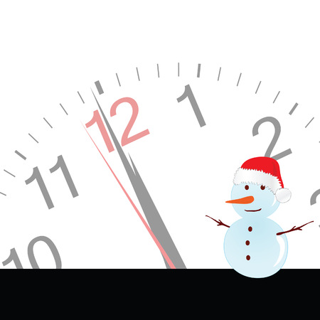 yule tide: snowman with clock vector illustration Illustration