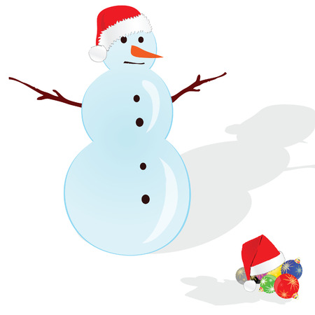 yule tide: snowman with red hat illustration on white