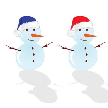yule tide: snowman with red hat vector illustration Illustration
