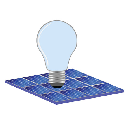 photovoltaics: solar panel and bulb vector illustration on white Illustration