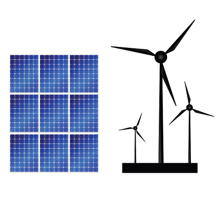 solar panel and windmills for energy vector illustration Vector