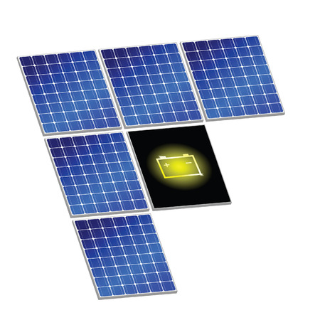 photovoltaics: solar panel with battery vector illustration art energy