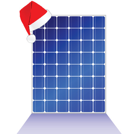 photovoltaics: solar panel with new year hat vector illustration