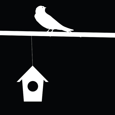 sparrow and house vector illustration Vector