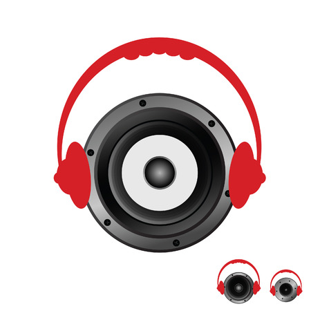 speaker with headphones vector illustration Vector
