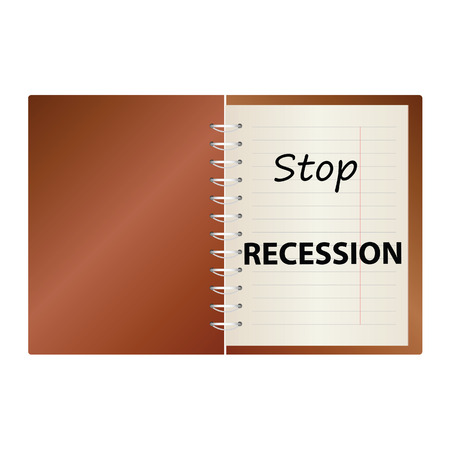 intentional: stop recession on notebook color vector illustration Illustration
