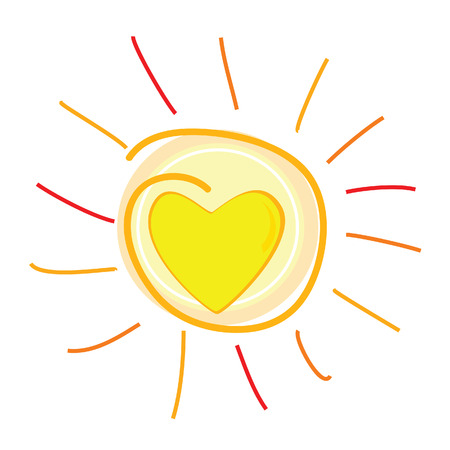 sun and heart in center vector illustration Vector