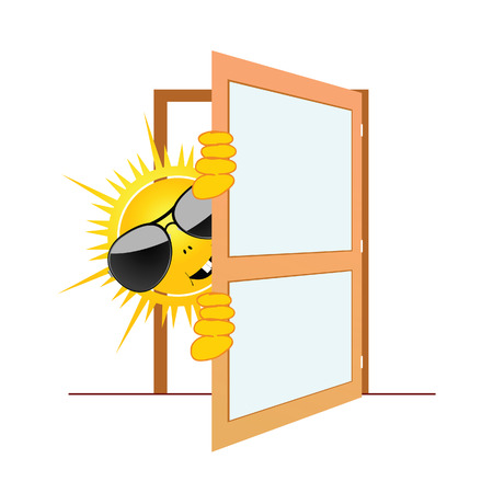 sun and the door vector illustration Vector