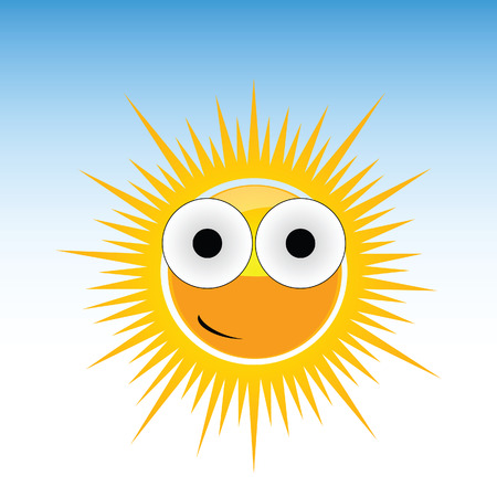 sun funny with big eye vector on blue background photo