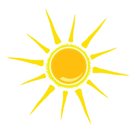 sun tan: sun vector illustration yellow color on white background Stock Photo