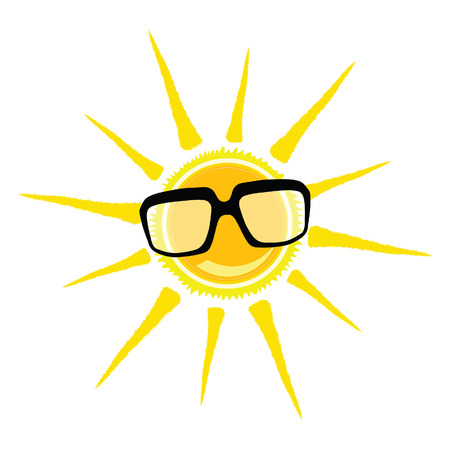 sun glasses: sun yellow and black glasses vector illustration Stock Photo