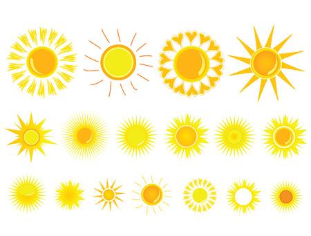 sun yellow set vector illustration on white background illustration