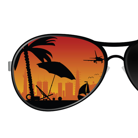 sunglass with beach items color vector illustration illustration