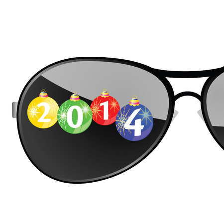 sunglasses with 2014 year color vector illustration illustration