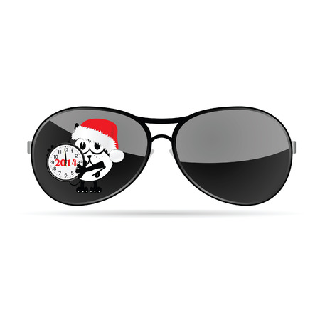 sunglasses with cute animal and christmas clock vector illustration illustration