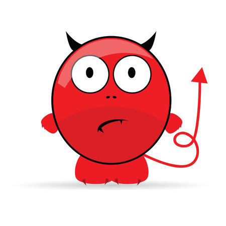 adversary: sweet and cute devil vector illustration Stock Photo