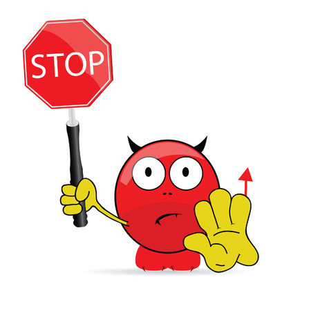 sweet and cute devil with sign stop vector photo