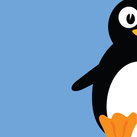 iciness: sweet and cute penguin color vector illustration