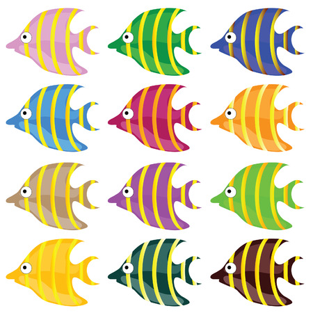 fish drawing: sweet and funny fish color vector illustrtion Stock Photo