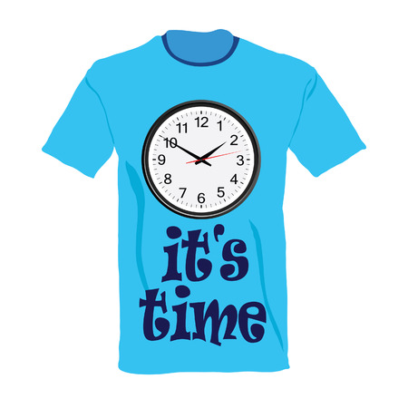 t-shirt in blue color with clock illustration on white illustration