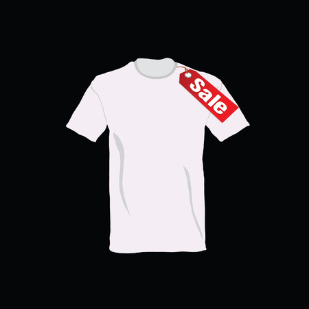 v neck: t-shirt on sale color vector illustration Stock Photo
