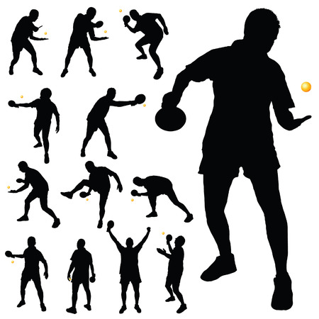 table tennis player silhouette in black color