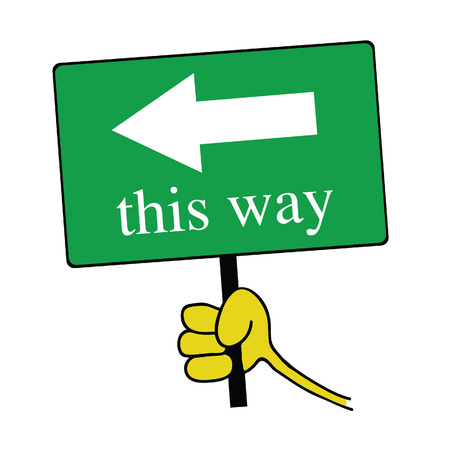 this way signboard with hand color vector illustration illustration