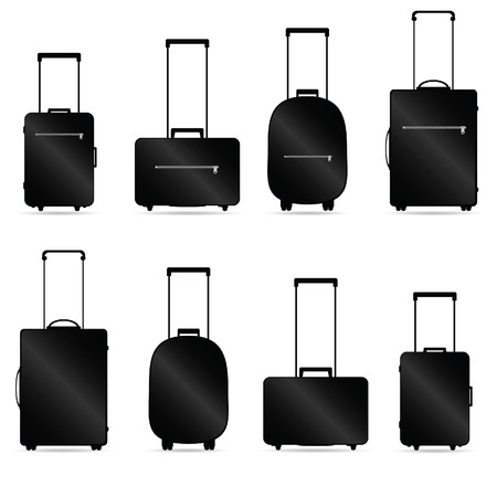 luggage: traveling bag vector illustration with shadow on white