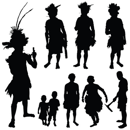 poor man: tribe people vector silhouette art illustration on white