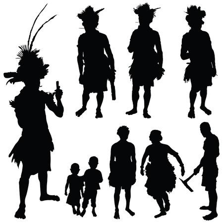 gente pobre: tribu de personas ilustración vectorial arte silueta en blanco Foto de archivo