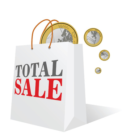 total sale with euro color vector illustration illustration