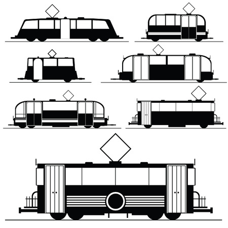 tramway: tram set vector illustration in black on white background
