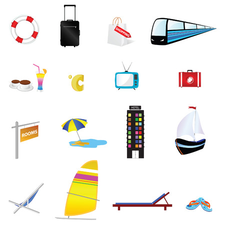 travel icon set one with train and boat illustration illustration