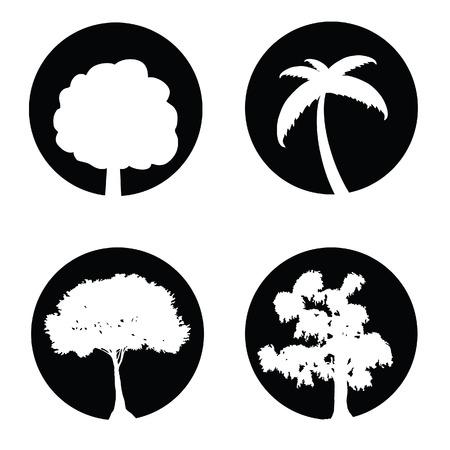 tree set black and white vector illustration illustration