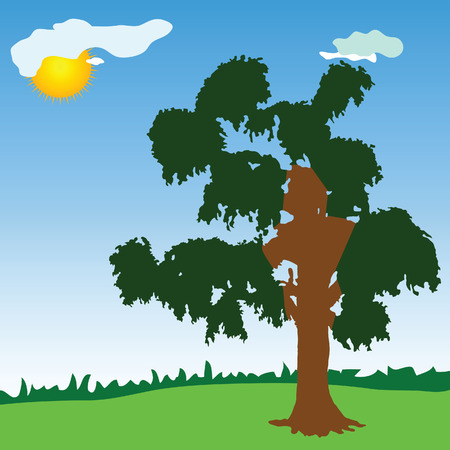 plats: tree with green leave vector illustration on blue with sun