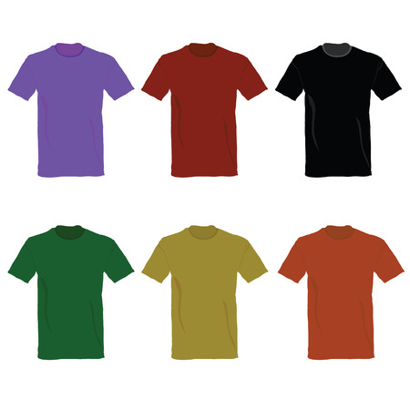 t-shirt vector illustration in six color on white background Vector