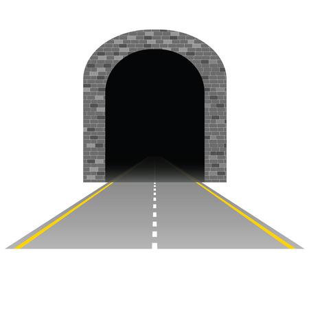 shorten: t�nel con ilustraci�n de la carretera una en blanco Vectores