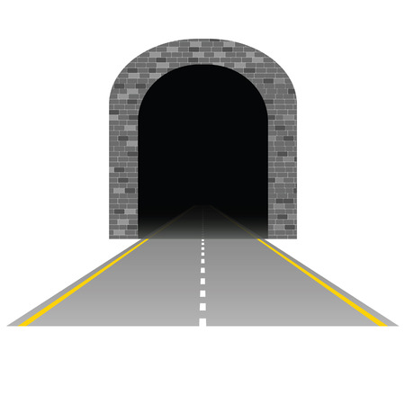 tunnel: tunnel with road illustration one on white Illustration