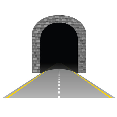 tunnel vision: tunnel with road illustration two on white
