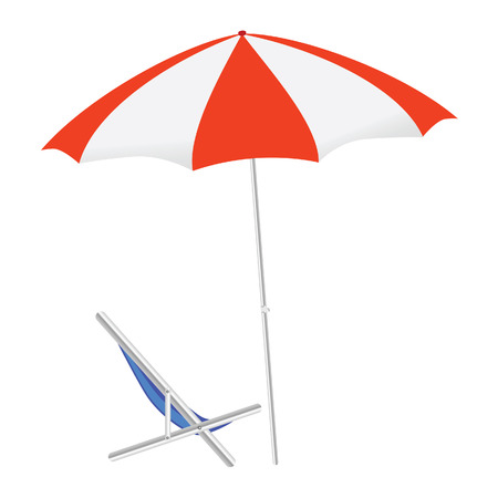 umbrella and chairs on the beach vector illustration on a color background Vector