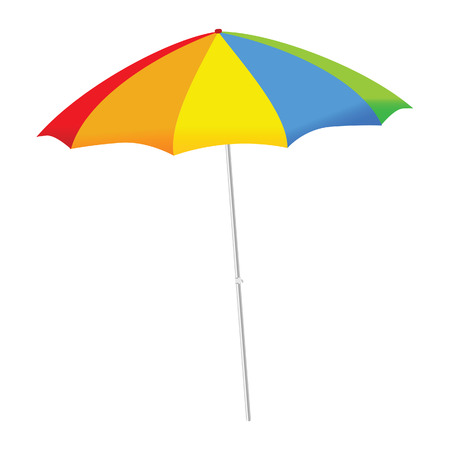 beach sea: umbrella color vector illustration on a white background