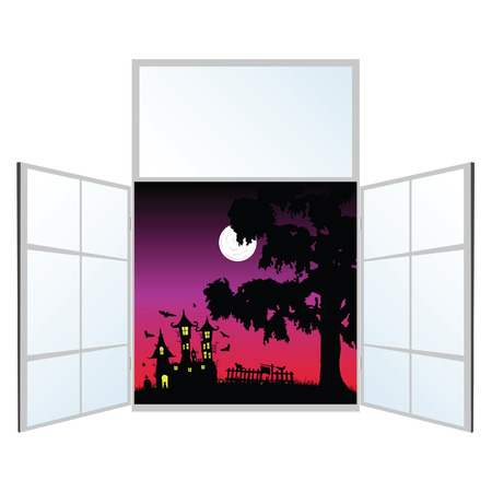 window view: view from the window on a halloween vector illustration