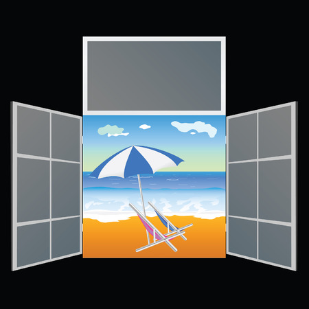 window view: view from the window on the paradise beach vector illustration