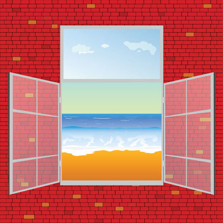 view on the beach from window vector illustration Vector
