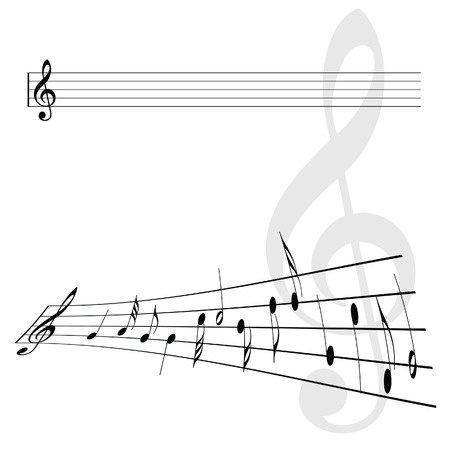 violins: Violin key and notes vector illustration