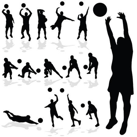 volleyball serve: jugador de voleibol silueta negro en varias poses