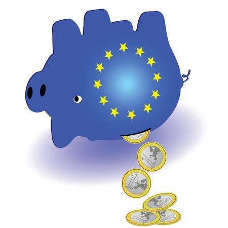 waste money: waste of money in the piggy bank on white