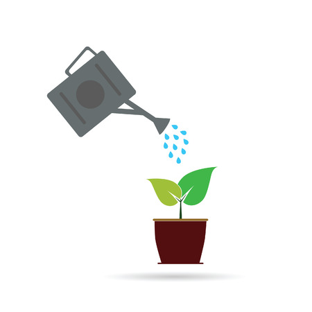 pail tank: watering two leaf art vector illustration on white Illustration